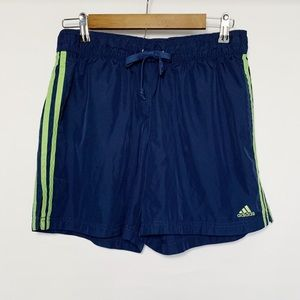 Adidas Athletic Shorts Navy w/ Lime Green Stripes